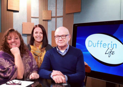 "On the Rogers TV studio set, with the hosts from ""Dufferin Live"""
